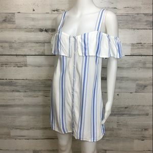 Forever 21 white blue stripe dress button front S